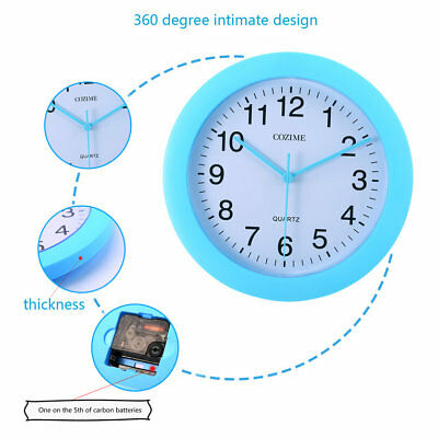 10 Inch Plastic Blue Frame Decorative Round Wall Clock Silent Movement ♚⚡