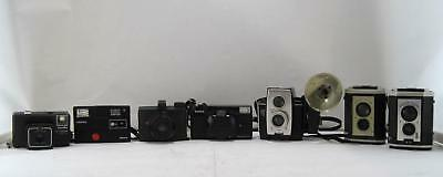 Lot Of 7 Used Cameras Minolta, Ansco Pioneer, Keystone, Kodak, Konica Display