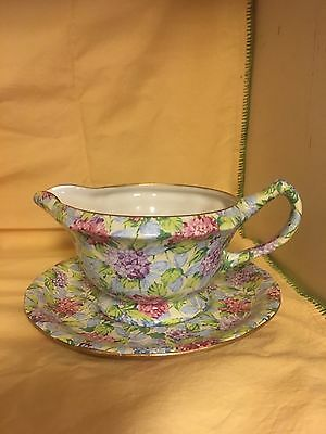 James Kent Hydrangea Chintzware Gravy Boat with Saucer