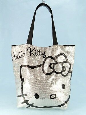 Hello Kitty Sanrio Silver Sequins Shoulder Tote Bag Purse Large Shopper  40  EXC c26d72985f