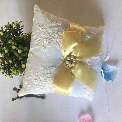Yellow Bowknot Satin Ring Pillow Finger Ring Bearer Wedding Decor YMJZ-032 ♚⚡