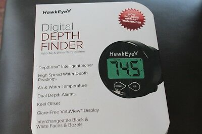 """""""NEW"""" Hawkeye Digital Depth Finder includes Transducer also displays water and a"""