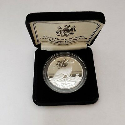 1992 Isle of Man Proof 1 oz Seated Siamese Cat Silver Crown Coin COA/Box (11W)