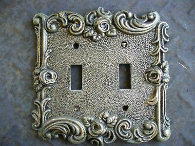 Vintage 1967 Amertac Metal Scroll Tarnish Rose Wall Plate Brass Switch Cover