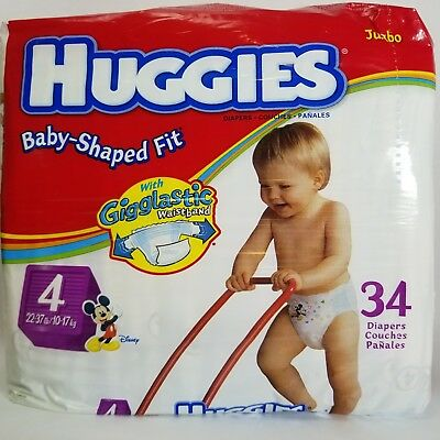 Vintage 2004 Huggies Baby Shaped Fit Size 4 Mickey Mouse Diapers Pack Gigglastic