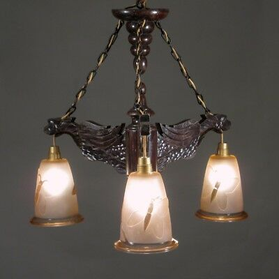 """Vintage French Wood """"Gargoyle"""" Chandelier, Glass Shades, Butterfly and Bamboo"""