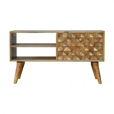 Mid Century Style Solid Wood Media Unit With Hand Carved Drawer Fronts