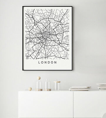 London Town World Map Grey Black Gift Gallery Wall Art Poster Print Choose City