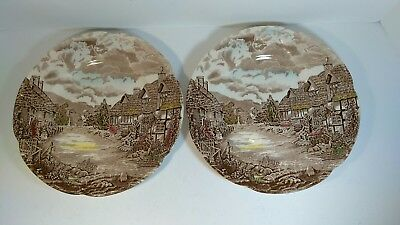 """Vintage Johnson Bothers Old English Countryside Dinner Plates 10"""""""