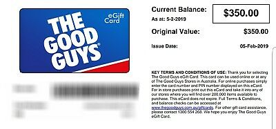 $350 Good Guys Gift Card