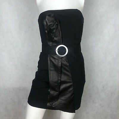 7bdaa9c0208 Alice + Olivia dress Black Strapless Wool Leather Belt Corset Sz 2