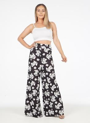New Ladies Womens Floral Print Elasticated Plazzo Baggy Trousers Summer Lounge