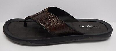 605225c478fb KENNETH COLE NEW York Reel Ist Mens Brown Leather Flip Flops Sandals ...
