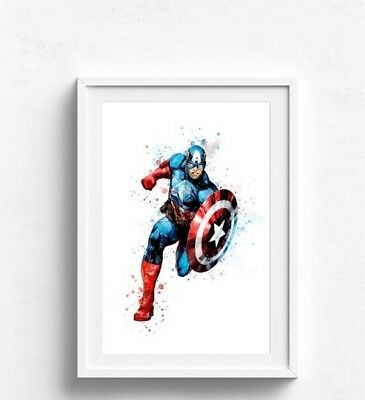 Captain America watercolour  Wall Picture Print  A4