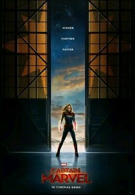 Captain Marvel 27x40 Double Sided Movie Theater Poster Teaser Marvel Brie Larson