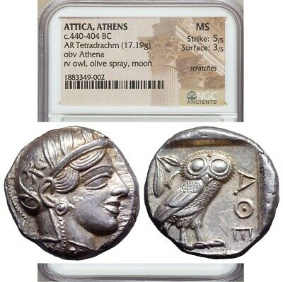 Athens Athena Owl Tetradrachm ca. 465-454 BC Ancient Greek Attica Superb Coin