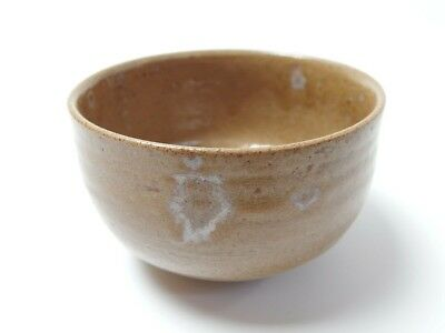Japanese antique vintage brown glaze pottery Chawan tea ceremony bowl chacha