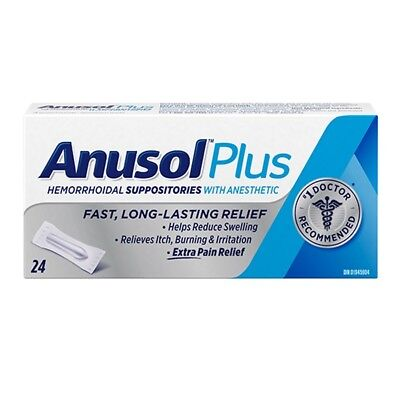 Anusol Plus Hermorrhoid 24 Suppositories Extra Pain Relief Anesthetic CANADA