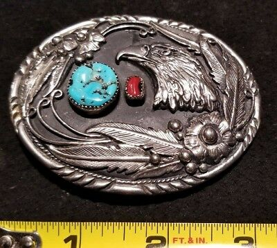 SSI Handcrafted USA Eagle Head Southwest Belt Buckle Silver Turquoise Coral