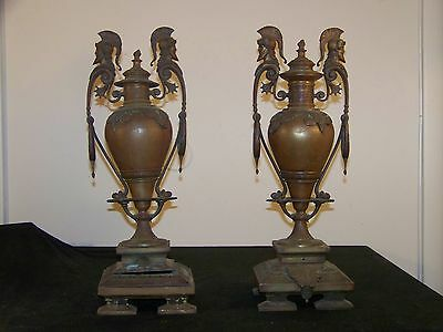 Antique c1800's Bronze Pair American/French/Russian Vases/Urns