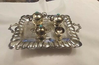 Antique Navajo Sterling Silver Miniature Tea & Coffee Set Turquoise Bead Finials