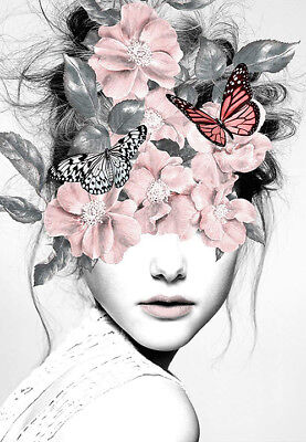 Beautiful Woman Butterfly Botanical Girl Roses Modern Art Canvas Print A3