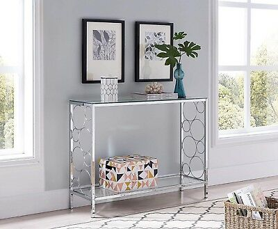 f4f774673b0 Modern Glass Console Table Furniture Accent Entryway Chrome Sofa Clear Top  Metal