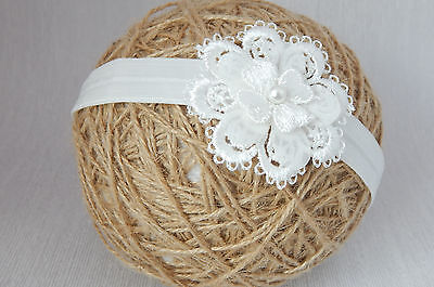 Baby flower headband for christening baptism wedding lace off white hair band