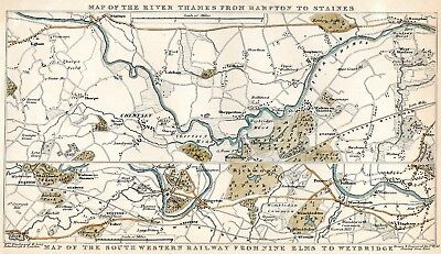 19th CENTURY, Coloured Engraving, MAP OF THE RIVER THAMES..., & RAILWAY...