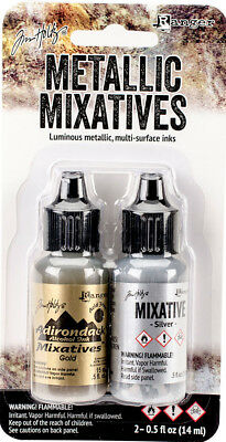 Tim Holtz Adirondack Alcohol Ink ~Metallic Mixative Gold & Silver Code 21247