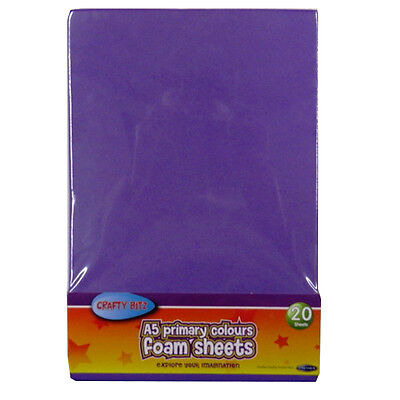 A5 Foam Coloured Sheets - Pack of 20 – 10 Primary Colours - by Crafty Bitz
