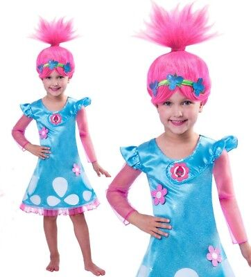 Girls Trolls Poppy Dress Cosplay Costume Princess Girls Fancy Clothes 2-10 years