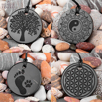 Shungite engraved pendants made of real rare stone, Tolvu