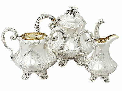 Victorian Sterling Silver Three Piece Tea Set by Joseph Angell II 1850s