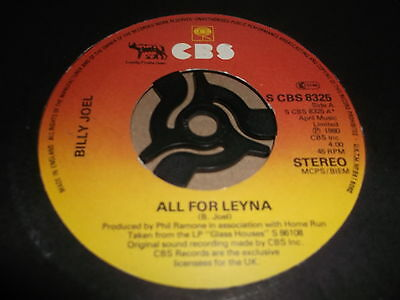 "Billy Joel "" All For Leyna "" 7"" Single 1980 Excellent"