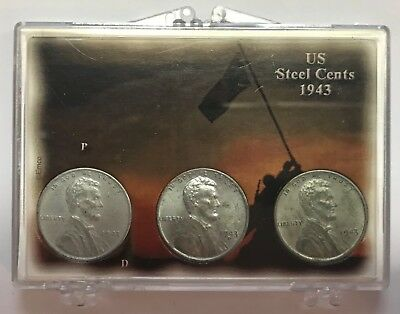 1943 P-D-S Steel Lincoln Cent Set : Uncirculated (3 coins) In Display Case  #220