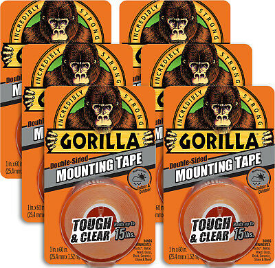 6 x Gorilla Glue TOUGH & CLEAR Mounting Tape Indoor / Outdoor 25.4mm x 1.52m