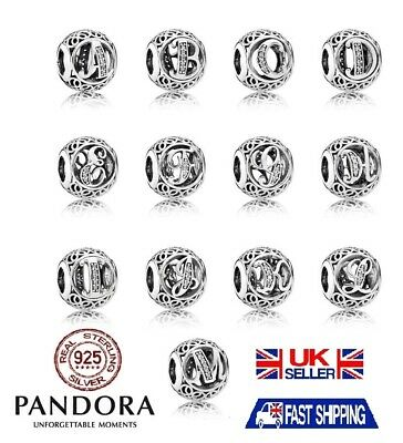 Genuine Authentic Pandora Alphabet Vintage Letter Charm Silver Bead all A-Z