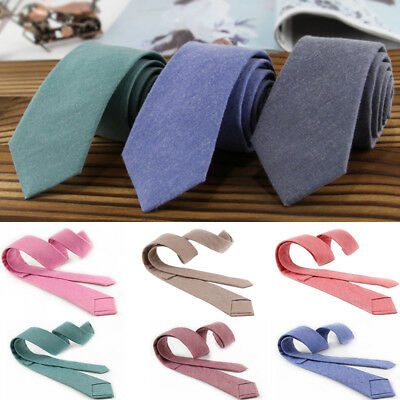 Men Cotton Narrow Solid Neck Ties Skinny Ties Slim Necktie Wedding Party Fashion