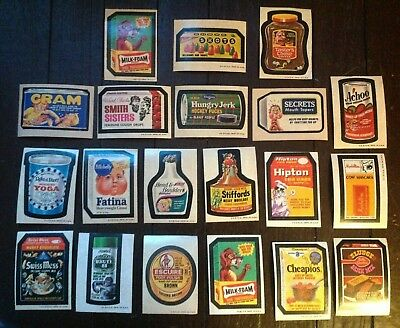 GROOVY LOT of 20 AWESOME VINTAGE EARLY 1970s TAN BACK WACKY PACKAGES STICKERS