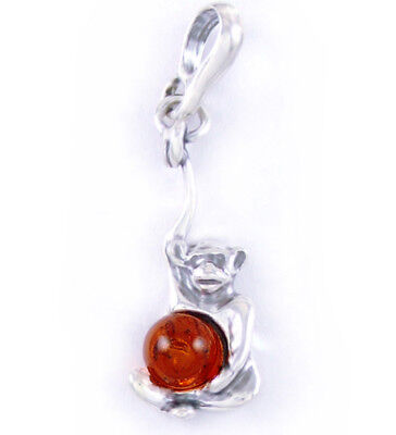 Baltic Amber Monkey Animal Pendant 925 Sterling Silver + Silver Necklace (Extra)