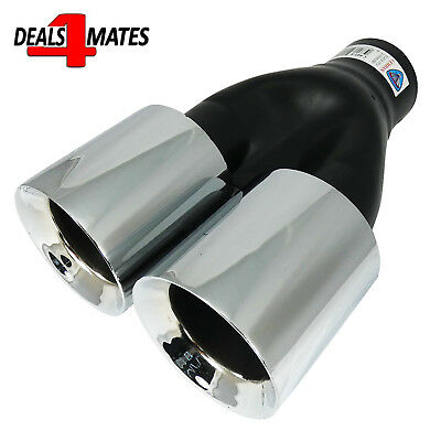 Universal Twin Double Sport Chrome Exhaust Pipe Trim Tip Tail Muffler 38-62mm