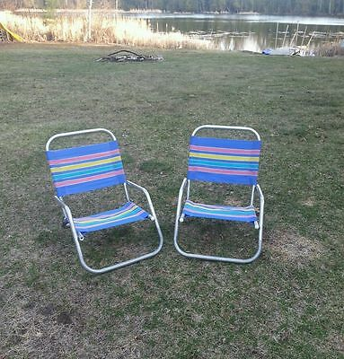 2 Chairs - Beach 1 Position Low to the Ground Aluminum Frame Beach Chairs