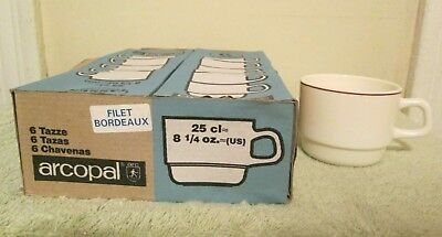 New 6 Pc ARCOPAL France Stackable Milk Glass Cafe Cups Restaurant Ware W/ Stripe