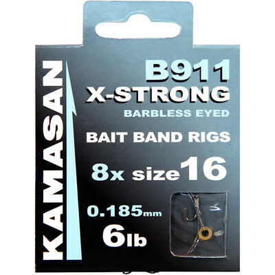 Kamasan B911 X-Strong Hooks To Nylon **Bait Band Rig** Barbless Free Pnp