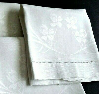 """6 Vintage Damask Linen Towels Bath or Kitchen 21x36"""" Floral Borders Excell Cond."""