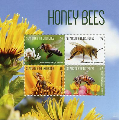 St Vincent & Grenadines 2018 MNH Western Honey Bees 4v M/S Bee Insects Stamps