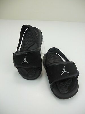 555c57cb62c117 Toddler Nike Air Jordan Hydro 2 Black Metallic Silver Slides 487574-001-Size  3C