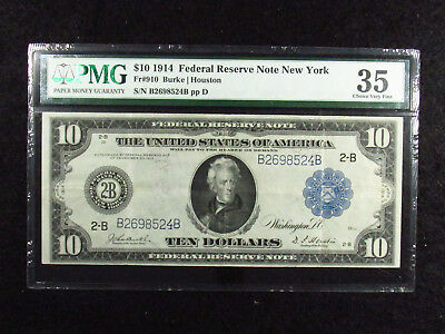1914 $10 Federal Reserve Bank Note New York FR#910 PMG CHOICE VF35 (524B)
