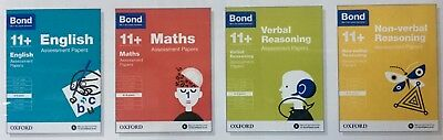 Bond 11+ Plus Assessment Papers 4 Books English Maths Verbal Non Verbal 8-9 Year